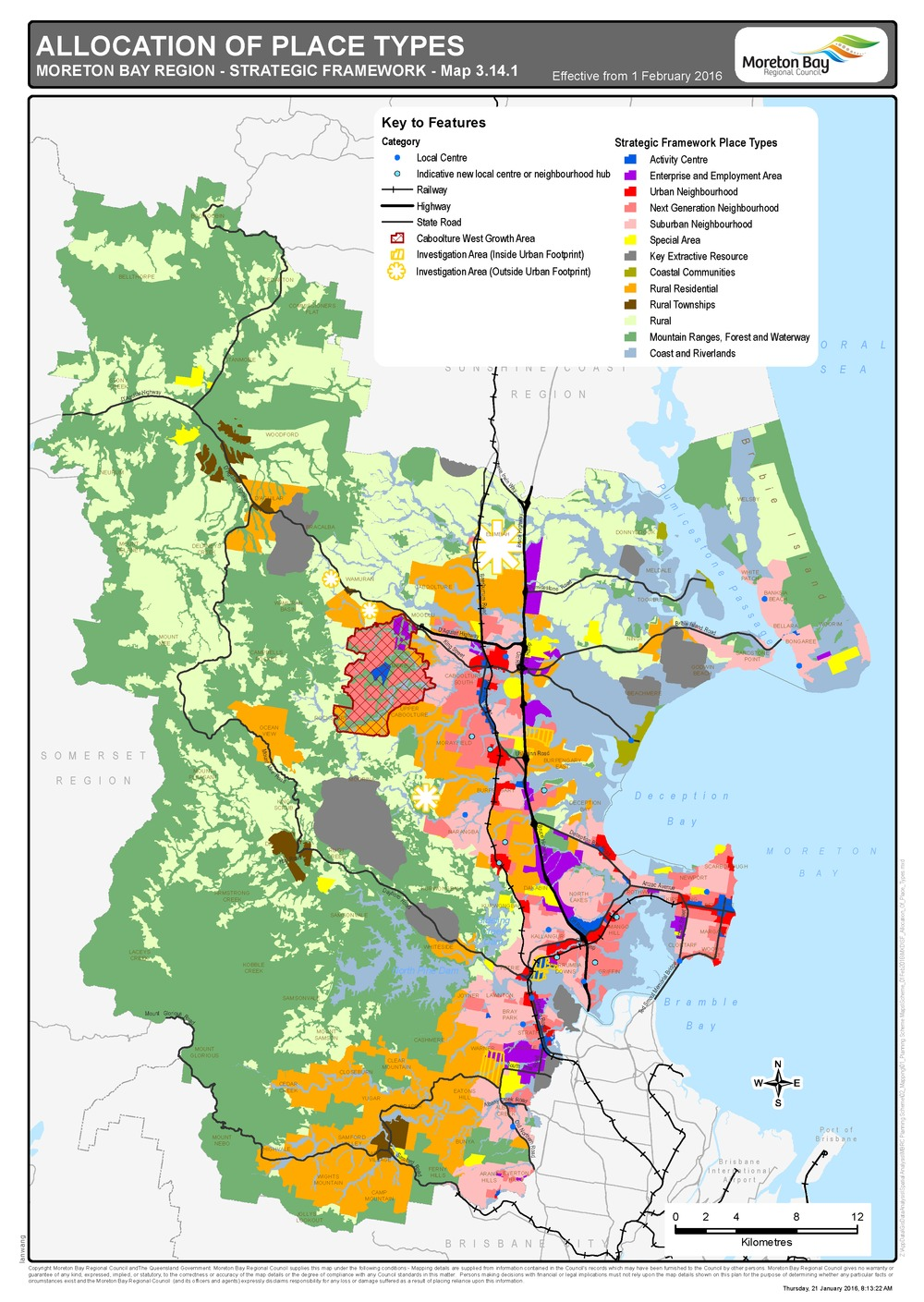Moreton bay regional council mbrc planning scheme current map 3141 allocation of place types sciox Gallery